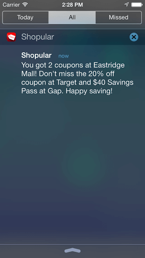 Shopular push notification