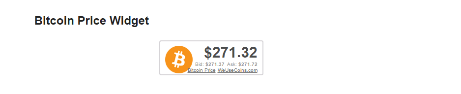 Bitcoin price widget